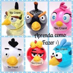 DIY: Como fazer Lembranças Angry Birds-biscuit-porcelana fria - By Bia C...