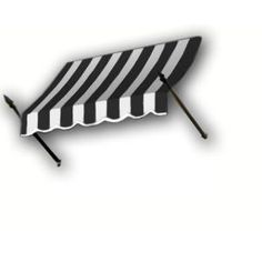 AWNTECH 8 ft. New Orleans Awning (56 in. H x 32 in. D) in Black/White Stripe-NO43-8KW at The Home Depot
