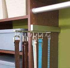 Store Belts on a Sliding Rack - Top 58 Most Creative Home-Organizing Ideas and DIY Projects - would work for ties too! Belt Storage, Pantry Storage, Storage Spaces, Closet Storage, Storage Ideas, Scarf Storage, Bathroom Storage, Organisation Hacks, Closet Organization