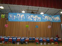"Preschool graduation stage. Preschool graduation. Dr Seuss theme ""Oh, The Places We'll Go"""
