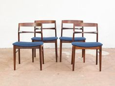 Set Of Four Danish Dining Chairs In Rosewood With Original Blue Fabric  Seating