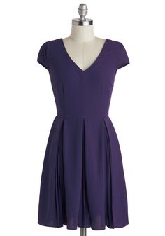 Motivational Manager Dress. Leading your team is made simpler when you have chic, work-ready styles like this royal-purple A-line dress by Myrtlewood! #purple #modcloth