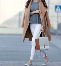 Camel Coat, White Jeans and Grey snake print  plimsoles (RiverIsland). #Style #Spring #Streetstyle