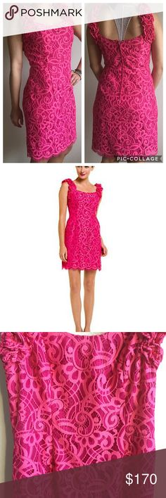 EUC Lilly Pulitzer Mara Two Tone Lace Dress Gorgeous passion pink, two  town, lace dress. scalloped hem, two tone lace. Great for a wedding,  cocktail or a ...