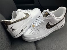Custom made Nike, Adidas, Vans, Converse sneakers and swarovski Trainers Nike Air Force, Nike Shoes Air Force, Lv Sneakers, Sneakers Fashion, Summer Sneakers, Fashion Outfits, Zapatillas Louis Vuitton, Af1 Shoes, White Nike Shoes