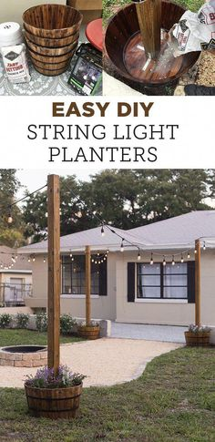 How to Hang String Lights In Backyard . How to Hang String Lights In Backyard . Diy Outdoor Light Pole Planters Around the Deck Diy Patio, Backyard Patio, Backyard Landscaping, Patio Ideas, Landscaping Ideas, Pergola Ideas, Wood Patio, Budget Patio, Pergola Kits