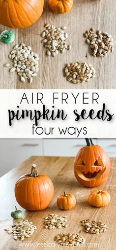 Skip the oven and make roasted air fryer pumpkin seeds. Here are all of the steps you need to make four different flavors.