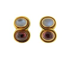 Bvlgari Bulgari 18K Gold Moonstone Tourmaline Earrings Featured in our upcoming auction on March 16!
