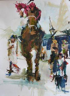 Original mixed media horse racing painting by Robert Joyner, Official artist of the 2012 Kentucky Derby.