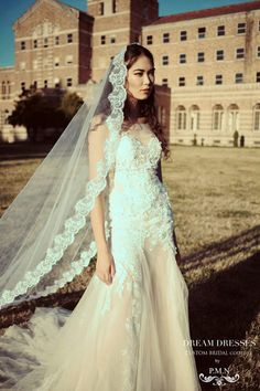 Cathedral Lace Wedding Veil (Style #SS16306) - Dream Dresses by P.M.N  - 2