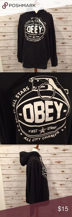 Obey Black Hoodie In good used condition. You can tell it's been washed but there are no holes or stains.  This is a great quality hoodie! Obey Shirts Sweatshirts & Hoodies