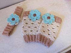 Crochet leg warmers with a matching headband