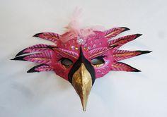 Flamingo Mask bird mask rose quartz beads unique by ArtisanMasks