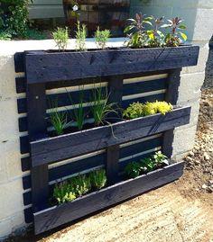 #diy #verticalgarden #gardendesign Herb Garden Pallet, Herb Garden Design, Pallet Garden Walls, Vertical Pallet Garden, Palette Herb Garden, Palate Garden, Pallet Garden Ideas Diy, Pallet Ideas For Outside, Pallet Gardening