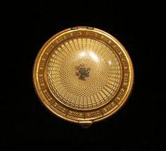 1930s Art Deco Guilloche Enamel Gold Powder Mirror Compact