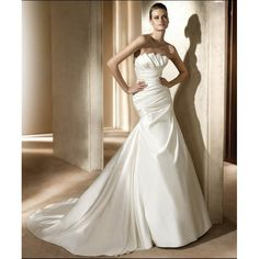 Taffeta Strapless Ruffles Bust with Rouched Bodice and A line Skirt Hot Sell Simple Elegant Wedding Dresses WD-0431