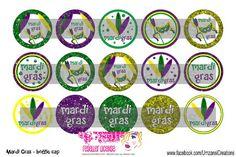 15 Mardi Gras Digital Download for 1 Bottle Caps 4x6 by MaddieZee, $1.75