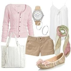 Pink Sweater, kaki shorts, and matching shoes + accessories.