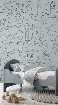 If Chemistry is your favourite subject, this doodle design is perfect. Fill your walls with equations and get your thinking cap on. #wallpaper #murals #wallmurals #interiordesign #design #home #homedecor #interiordecor #accentwall #inspiration #Ihavethisthingswithwalls #educationalwallpaper #kidsbedroom
