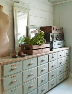 Card Catalog Chest - cup pulls and label holders