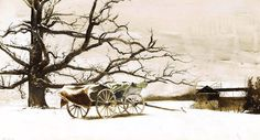 Andrew Wyeth (1917 — 2009, USA) Moores. 1981 drybrush on paper. 21 x 39 in. © Andrew Wyeth