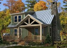 <ul><li>Vertical siding, a shed dormer and metal roof all accent this adorable Cottage home plan.</li><li>Both the front and rear porches are vaulted and an open deck can be found in the rear as well.</li><li>The main living area is one large space with more vaulted ceilings.</li><li>A first floor master saves climbing stairs and is well laid-out with a walk-in closet and double sinks in the bathroom.</li><li>Two ...
