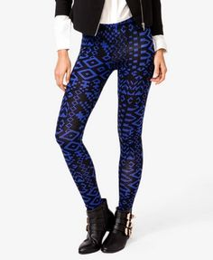 Abstract Geo print leggings from F21. ♥ Absolutely adore the royal blue and blck.