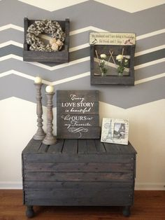 Wooden Pallet DIY Sideboard - Pallet Sign with Quote - Wall Shelves - Gray Stain