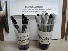 Sharpie Hospital ~ How to rescue your dried up Sharpies. Place tips in rubbling alcohol until a bit of ink comes out. Replace the cap and let sit for at least 15 minutes. Also always store cap side down! Art Classroom Management, Classroom Organization, Classroom Ideas, Classroom Behavior, Preschool Classroom, Classroom Resources, Future Classroom, Kindergarten, High School Art