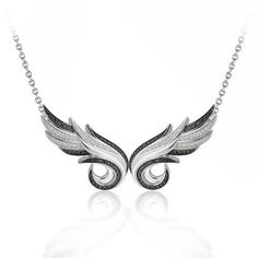925 Sterling Silver Double Angel Feather White and Black Diamond Pendant Necklace (GH, I1-I2, 0.36 carat) Diamond Delight http://www.amazon.com/dp/B00I2XD5YA/ref=cm_sw_r_pi_dp_f7Itub072YESA