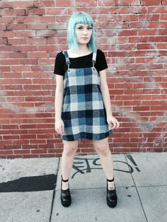 Work a 90s grunge look in a plaid dress x