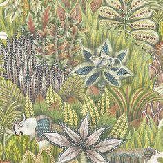 Papier peint Singita vert et multicolore de The Ardmore Collection de Cole and Son. Ce papier peint apportera une ambiance tropicale et exotique à votre décoration intérieure.
