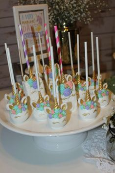 Loving the beautiful cake pops at this unicorn birthday party!! See more party ideas at CatchMyParty.com #unicorn #cakepops