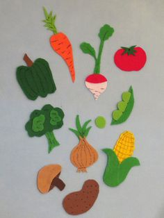 Felt Board activity set - VEGETABLES (10 piece set PLUS a free mystery item) on Etsy, $6.00