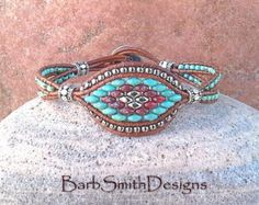 Blue Copper Cobalt Chain Beaded Leather Wrap by BarbSmithDesigns