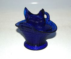 Westmoreland Glass Chick Chicken Oval Two Handled Basket Cobalt Blue Marked RARE #Westmoreland #chick #chicken