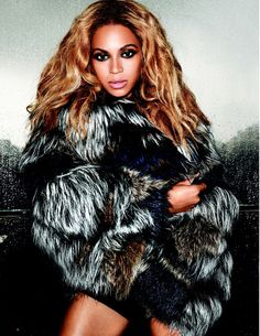 """Beyonce, also known as her sexy alter ego """"Sasha Fierce,"""" is always seen looking glamorous, but her fur choices often take that to the next level. Not known for wild and bright colors, Beyonce often goes for the luxe and chic for a very put-together look. #beyonce, #furcoat, #furfashion"""