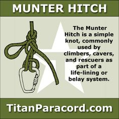 The Munter hitch, also known as the Italian hitch or the Crossing Hitch, is a simple knot, commonly used by climbers, cavers, and rescuers as part of a life-lining or belay system.