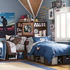 Image detail for -Baseball Bedroom Decoration – Bedroom Decor Ideas Shared Boys Rooms, Cool Bedrooms For Boys, Shared Bedrooms, Awesome Bedrooms, Boy Bedrooms, Teen Boys Room Decor, Teen Boy Rooms, Boys Bedroom Decor, Bedroom Themes