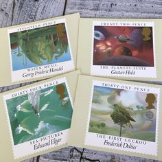 British Composers Vintage Postcards,  Post Office Postage Stamps, Handel Water Music, Holst Planets, Elgar Sea Pictures, Delius first Cuckoo Postcards For Sale, Vintage Postcards, Sea Pictures, Composers, Post Office, Vintage Paper, Postage Stamps, Planets, British