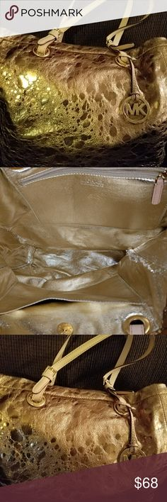 Michael Kors Gold Bag Gold colored. Leather, large bag. Very good condition, with no marks or wear. Michael Kors Bags Shoulder Bags