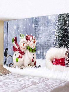 Christmas Tree Snowman Couple Print Tapestry Wall Hanging Art Decoration Christmas Wall Tapestry - F Decoration Christmas, Modern Christmas Decor, Christmas Tree With Gifts, Christmas On A Budget, Christmas Couple, Cozy Christmas, Classy Christmas, Outdoor Christmas, White Christmas