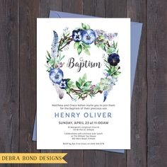 Boy christening/baptism/naming day invitation, watercolour flower & feathers wreath, digital customised printable by DebraBondDesigns on Etsy