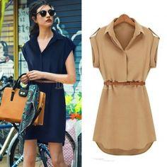 Women's Cap Sleeve Stretch Chiffon Casual Shirt Mini Dress With Belt.. Elegant!!!