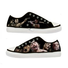 The Walking Dead Zombie woman canvas shoes  Size  US 5 by Tattabia, $36.99