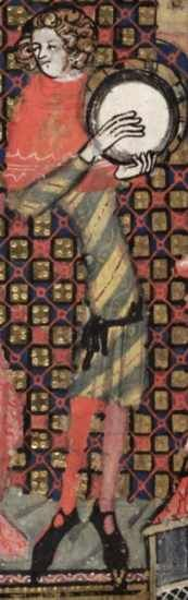 1338-44, French. From The Romanace of Alexander; fol 127v Musician with diagonally striped cotehardie, black belt, shoes and pouch, parti-colored hose