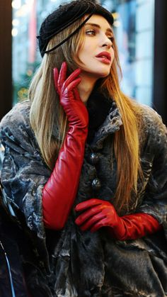 Log in - women gloves fashion Red Gloves, Long Gloves, Ladies Gloves, Elegant Gloves, Pose, Gloves Fashion, Brown Outfit, Black Leather Gloves, Work Looks