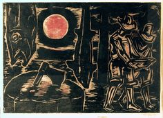 FIM DO DIAcirca 1950, assinada xilogravura a cores 19,5 x 27 cm Coleção Raul Schmidt Felippe Jr.