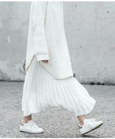 All white, pleated skirt, oversized sweated