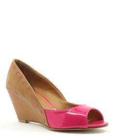 This Brown & Fuchsia Mona Peep-Toe Wedge is perfect! #zulilyfinds